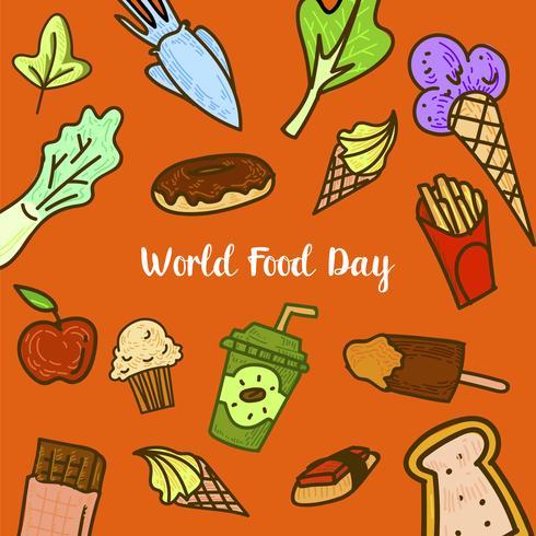 Dia Mundial da Alimentação com Frutas Colorfull vetor