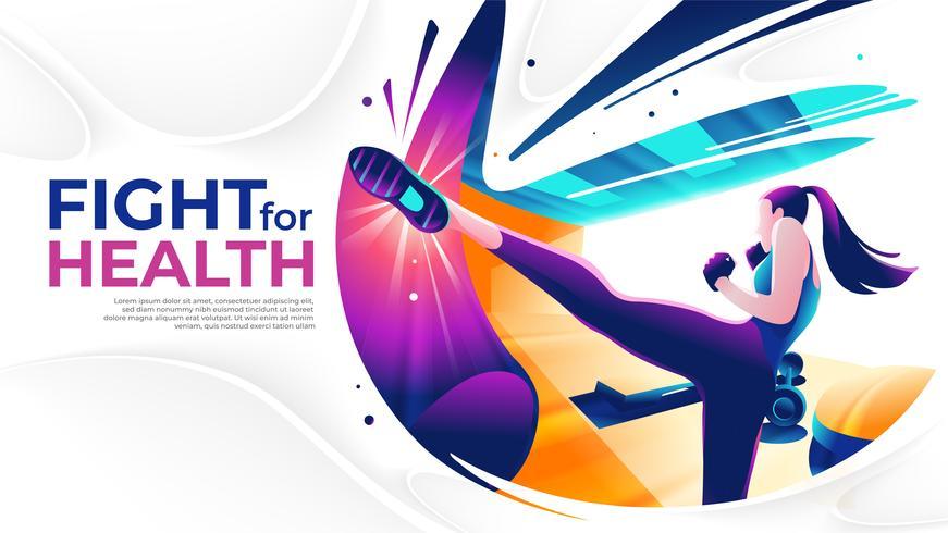 Kick Boxing Fight For Health vetor