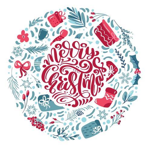 Feliz Natal letras caligráficas mão escrita texto vetorial vetor