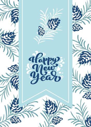 Feliz ano novo letras caligráficas mão escrita texto vetorial vetor