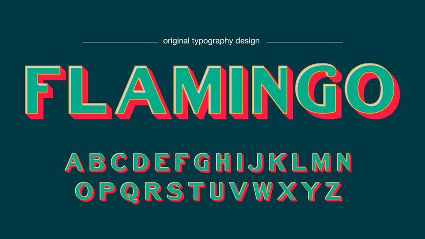 Tipografia simples em negrito de cores retrô vetor