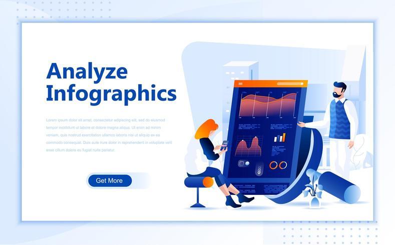 Analisar o design de página da web plana de infográfico vetor