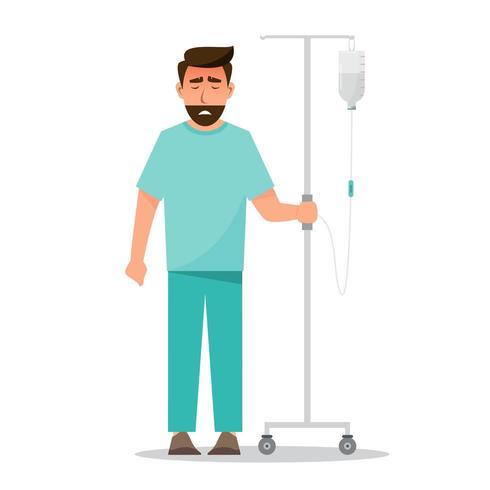 homem doente, segurando a bolsa salina no hospital vetor