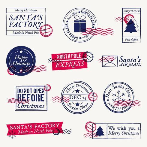 Carimbos postais de Natal e Papai Noel, selos vetor