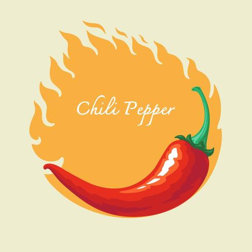 Pimenta quente com fundo de fogo vetor