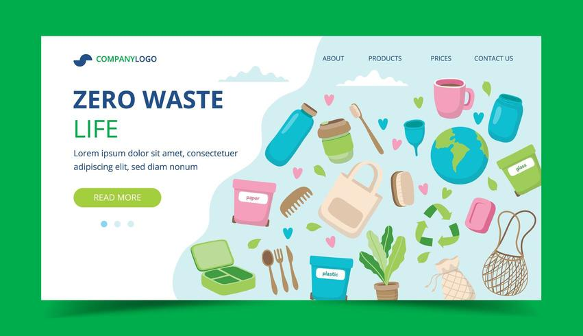 Página inicial zero de resíduos com elementos ecológicos vetor