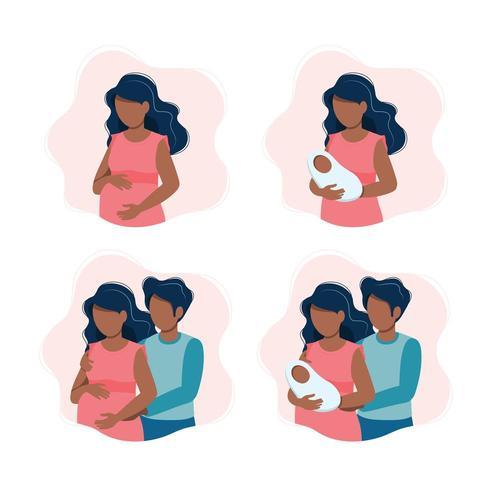 Mulher segura um bebê recém-nascido vetor