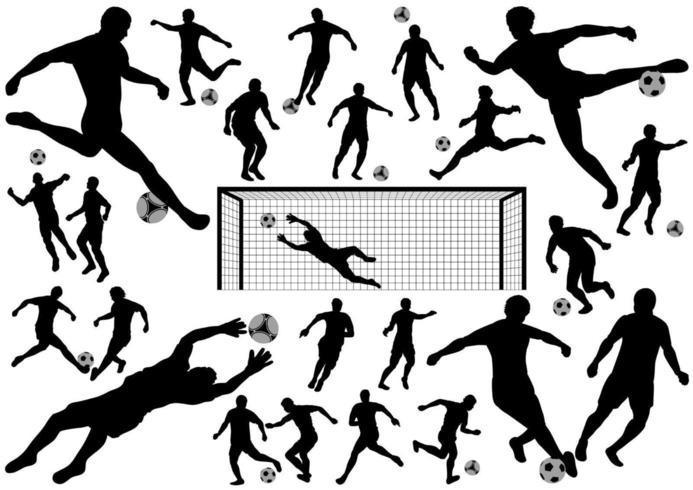 Conjunto de silhueta de jogadores de futebol vetor
