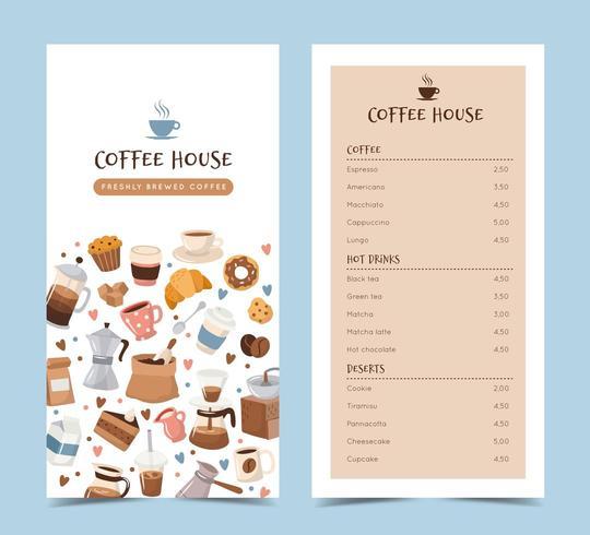 Modelo de menu de café com diferentes elementos de café vetor