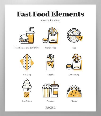 Elementos de fast-food Pack de cores de linha vetor
