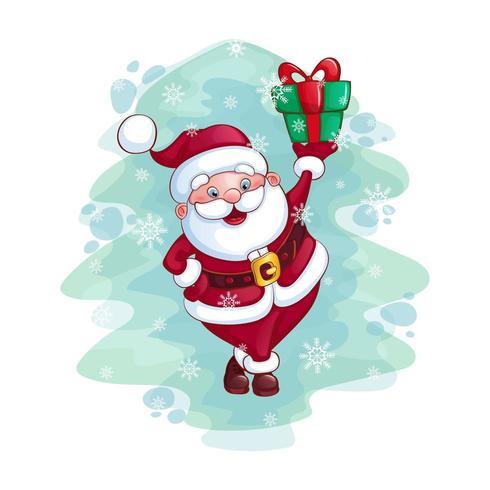 Alegre Papai Noel está segurando um presente vetor
