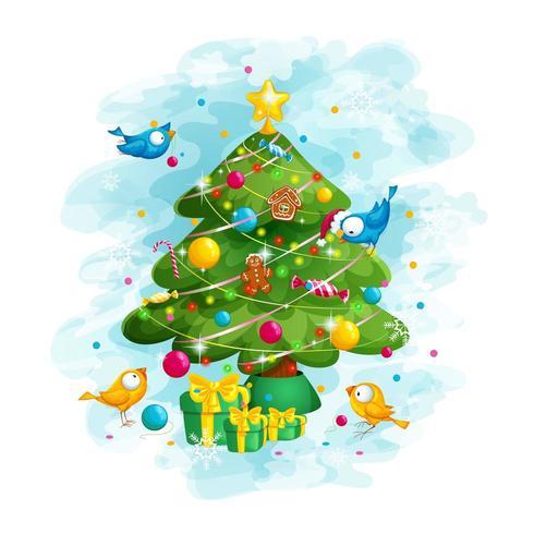 Pássaros engraçados decoram a árvore de Natal vetor