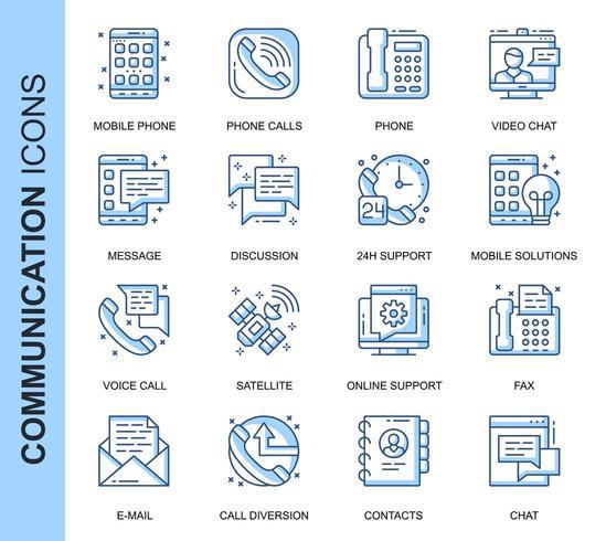 Conjunto de ícones relacionados de comunicação de linha fina azul vetor