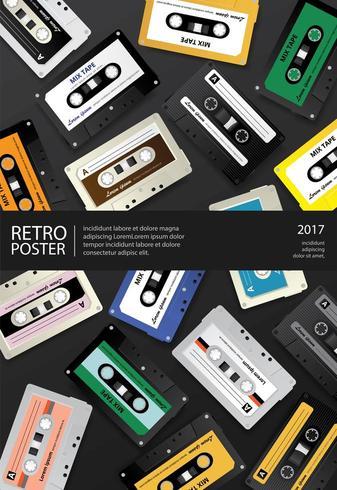 Modelo de design de cartaz de fita cassete retrô vintage vetor