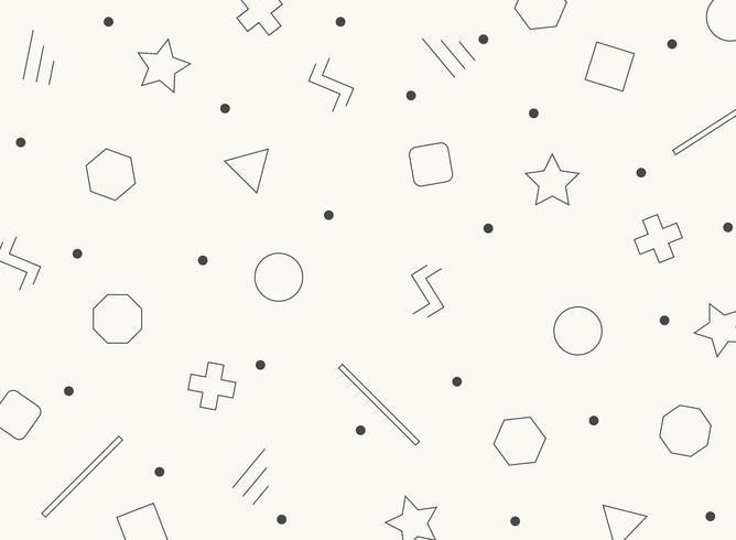 Abstrato preto e branco retrô formas geométricas padrão vetor