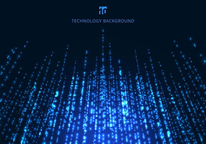 Linhas de partículas abstratas tecnologia mágica azul brilhante cintilante vetor