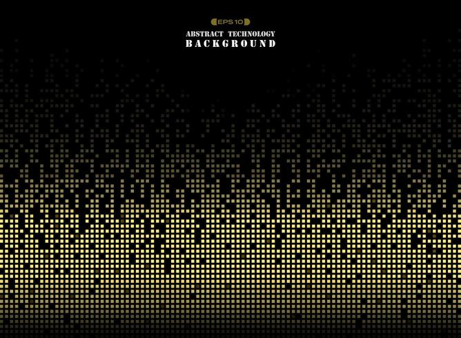 Abstrata tecnologia futurista no padrão quadrado de pixels de cor dourada vetor