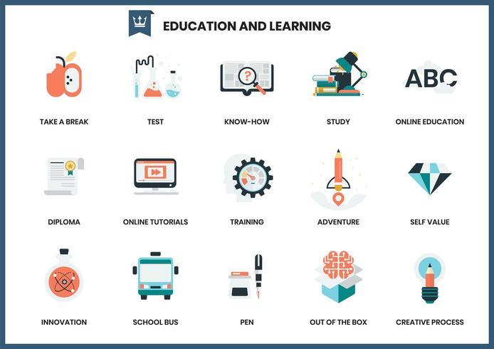 Conjunto de ícones de educação e aprendizagem vetor