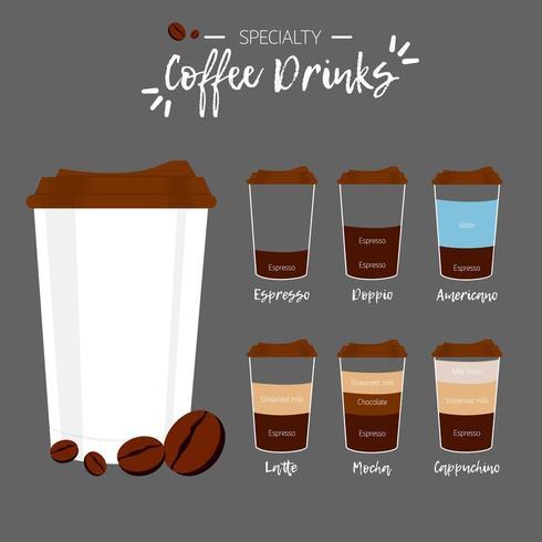 Conjunto de bebidas de café especiais vetor