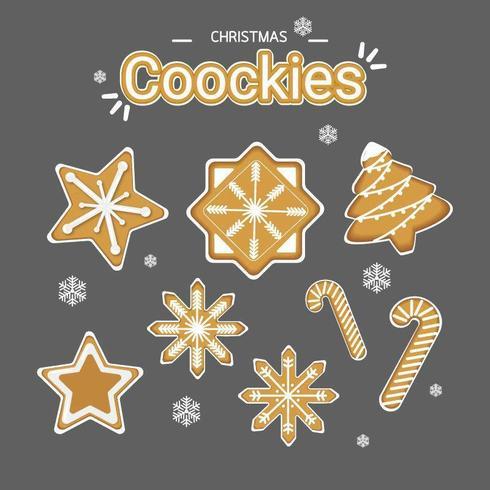 Conjunto de biscoitos de Natal vetor