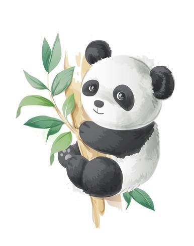 panda bonito dos desenhos animados em uma ilustração da árvore vetor