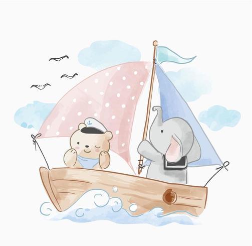 amigo de animais fofos, navegando no barco vetor