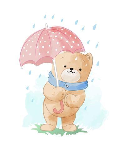 urso bonito dos desenhos animados na ilustração da chuva vetor