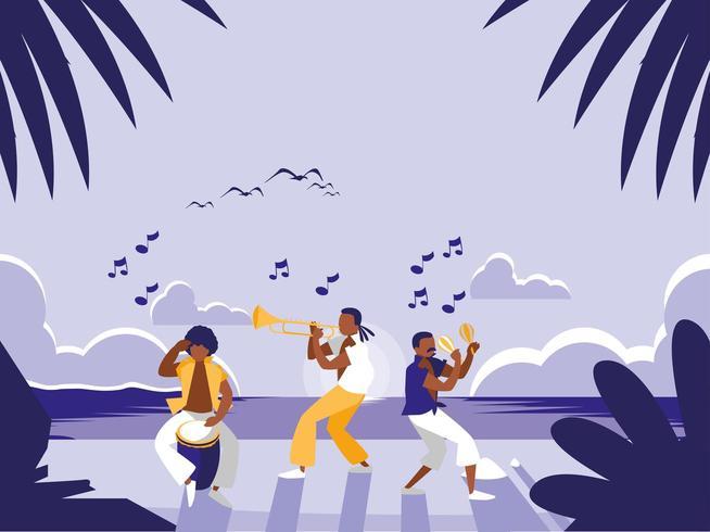 banda de música na praia tropical vetor