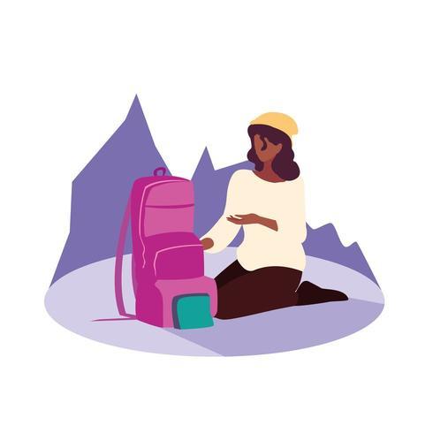 jovem mulher sentada com mala de viagem vetor
