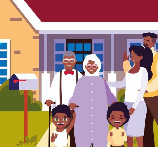 família bonita com casa de fachada vetor