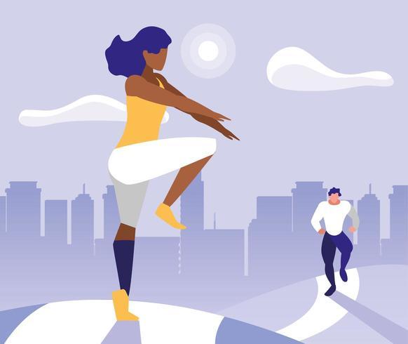 jovem casal praticando ginástica ao ar livre vetor