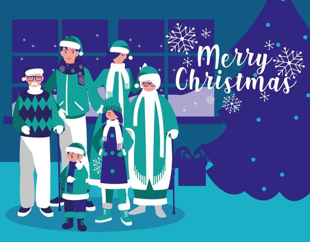 grupo de família com roupas de Natal em casa vetor