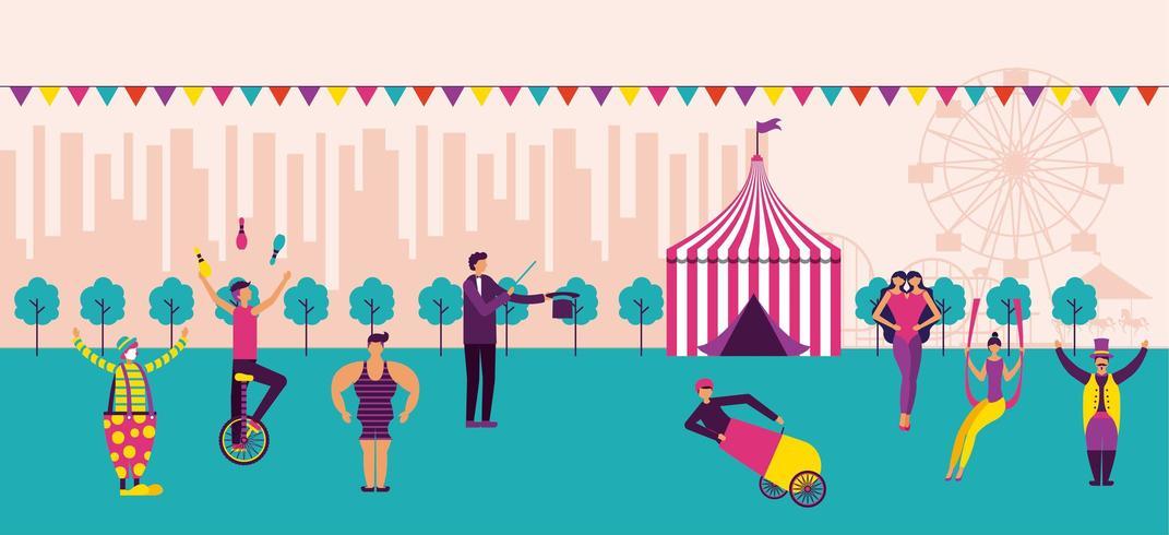 Cena de carnaval e circo vetor
