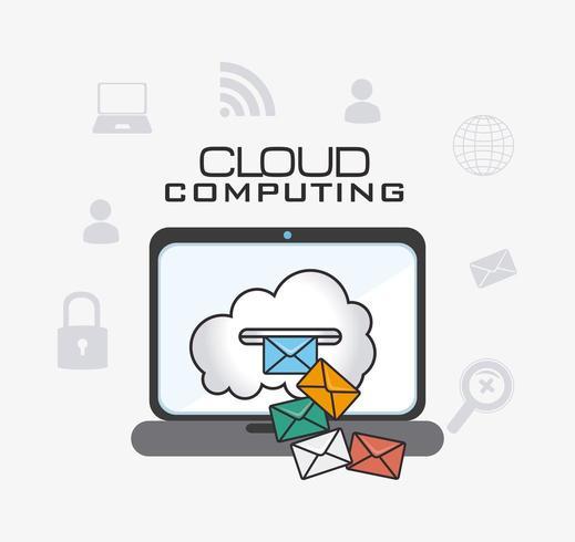 Projeto de computação em nuvem com laptop e ícones vetor