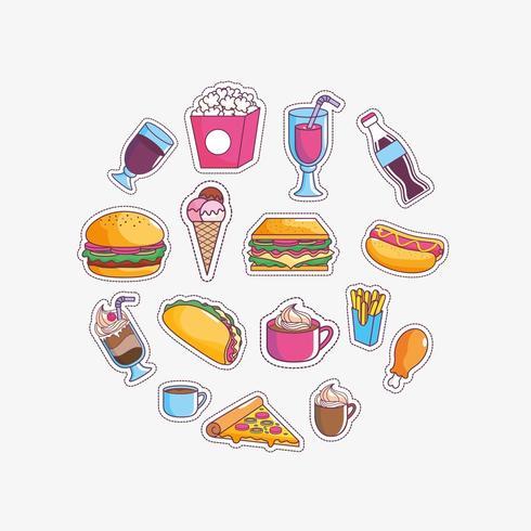 Conjunto de ícones saborosos fast-food vetor