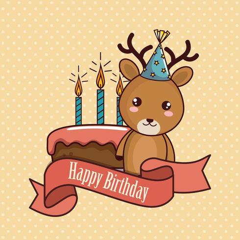 cartão de feliz aniversário com rena bonita vetor