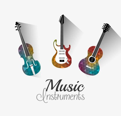Instrumentos musicais de design digital. vetor