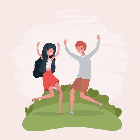jovem casal pulando comemorando os personagens do parque vetor