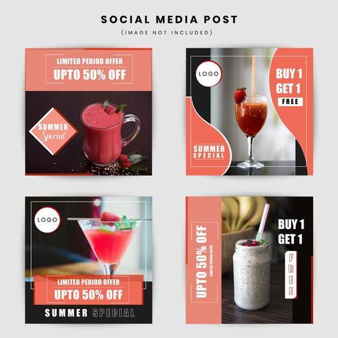 Design de post de mídia social de alimentos e bebidas vetor