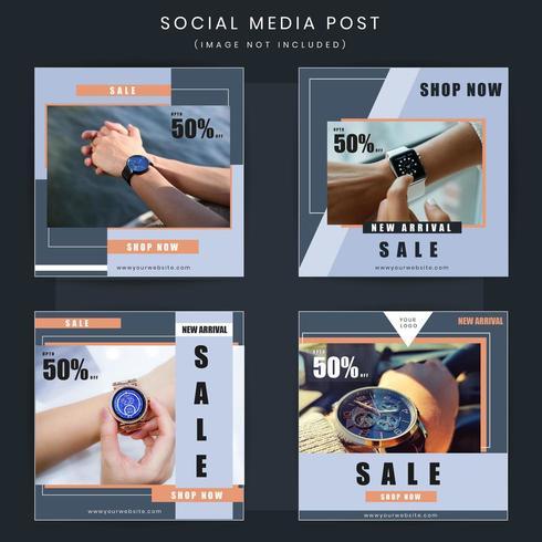 Conjunto de praça de oferta social de oferta de venda de moda vetor