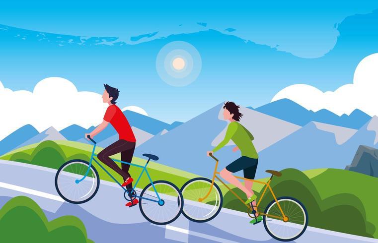 homens andando de bicicleta na paisagem montanhosa para estrada vetor