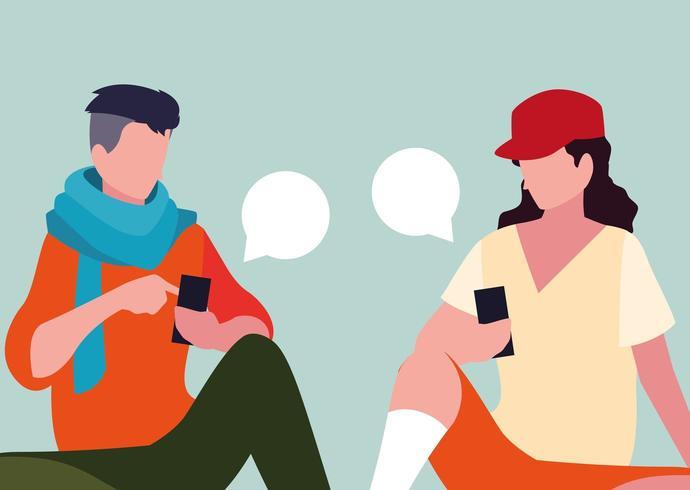 jovens sentados usando smartphones com bolhas do discurso vetor