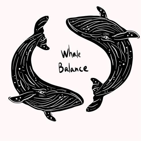 Equilíbrio da vida marinha da baleia negra vetor