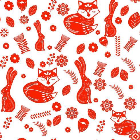 Padrão escandinavo de arte folclórica com coelhos, raposa e flores vetor