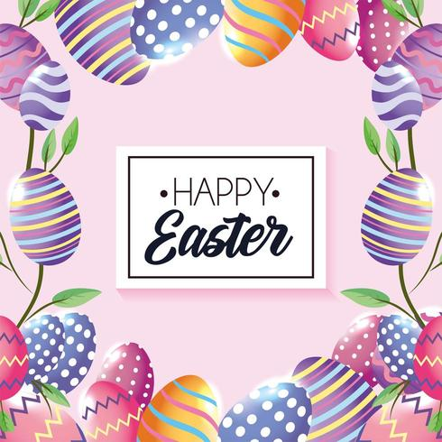 Emblema de feliz Páscoa com decorações de ovos e folhas de plantas vetor