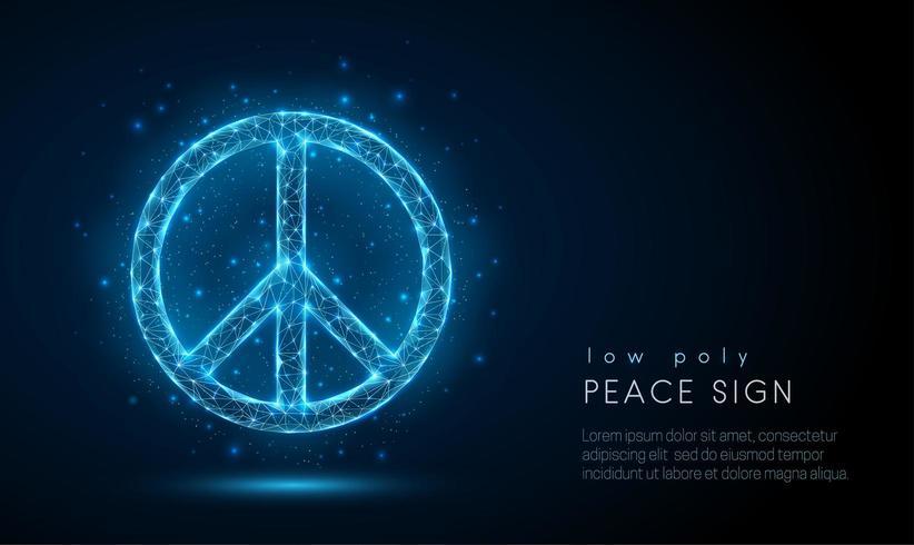 Abstact sinal de paz. Design de estilo baixo poli vetor