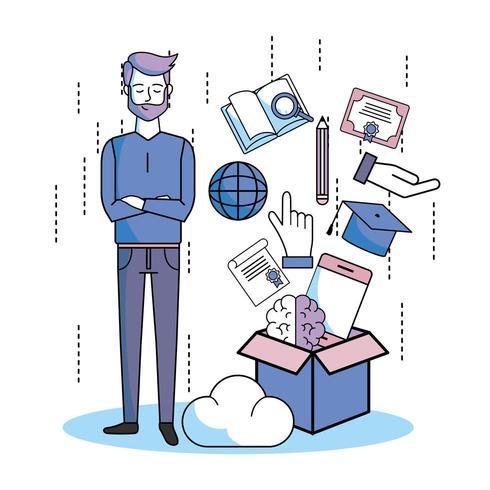 homem com livro, chapéu de formatura e outros itens de educação saindo de uma caixa vetor