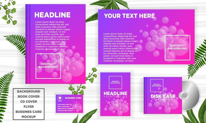 Bolhas roxas abstraem conjunto de modelo de banner web design vetor