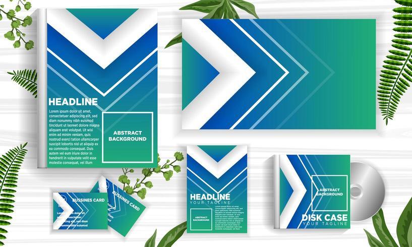 Conjunto de modelo de web banner azul e verde Design vetor