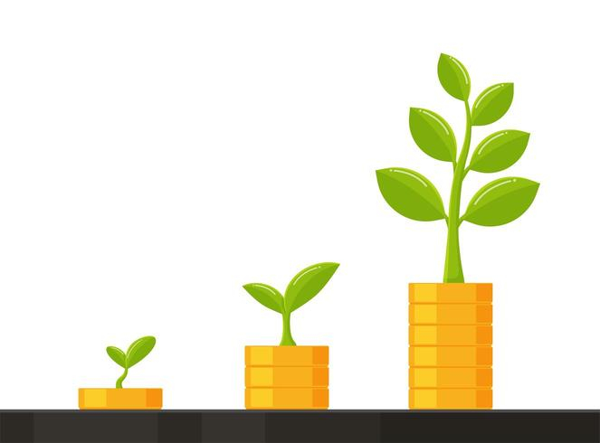 A pilha de moedas cresce com a árvore dos negócios vetor